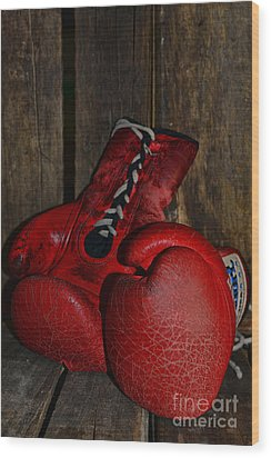 Boxing Gloves Worn Out Wood Print by Paul Ward