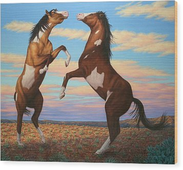 Boxing Horses Wood Print by James W Johnson