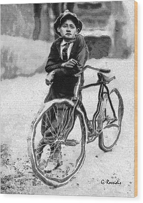 Boy And Bicycle Wood Print by George Rossidis