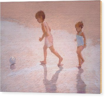 Boy And Girl W/ball Wood Print by J Reifsnyder