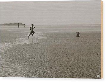 Boy And Gull Wood Print