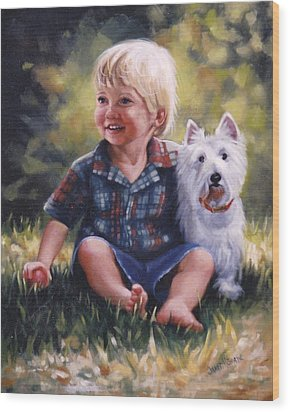 Boy And His Dog Wood Print by Janet McGrath