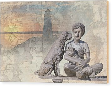 Boy And His Dogs Sculpture Wood Print by Betty LaRue