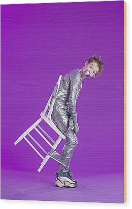 Boy Bound By Duct Tape Wood Print by Ron Nickel