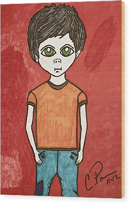 Wood Print featuring the drawing Boy by Chrissy  Pena