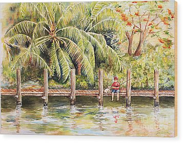 Boy Fishing With Dog Wood Print by Janis Lee Colon