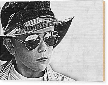 Boy In Aviators Wood Print