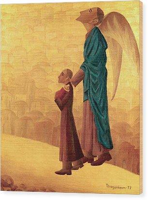 Boy Leading The Blind Angel Wood Print