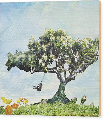 Boy On A Swing Wood Print by Linde Townsend