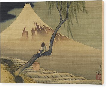 Boy Viewing Mount Fuji Wood Print