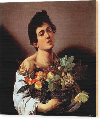 Wood Print featuring the painting Boy With A Basket Of Fruits by Caravaggio