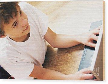 Boy With Notebook Wood Print by Michal Bednarek