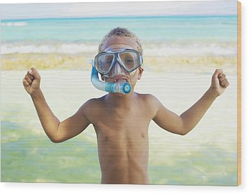 Boy With Snorkel Wood Print by Kicka Witte