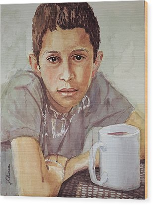 Boy With White Cup Wood Print by Jeff Chase
