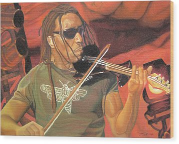 Boyd Tinsley At Red Rocks Wood Print by Joshua Morton