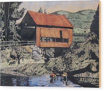 Boys And Covered Bridge Wood Print by Joseph Juvenal