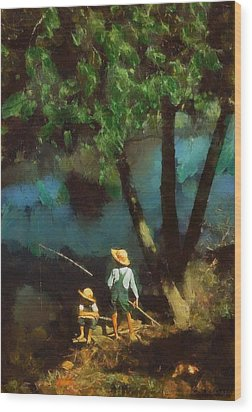 Wood Print featuring the digital art Boys Fishing In A Bayou by Kai Saarto