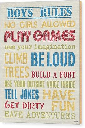 Boys Rules Wood Print by Debbie DeWitt