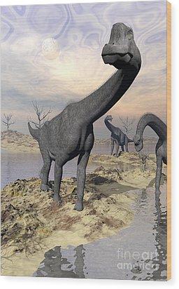 Brachiosaurus Dinosaurs Near Water Wood Print by Elena Duvernay