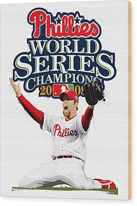 Wood Print featuring the digital art Brad Lidge Ws Champs Logo by Scott Weigner