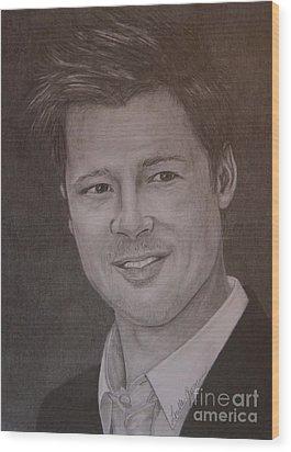 Brad Pitt Wood Print by Lorelle Gromus