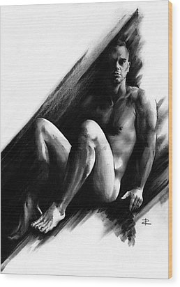 Wood Print featuring the drawing Bradley by Paul Davenport