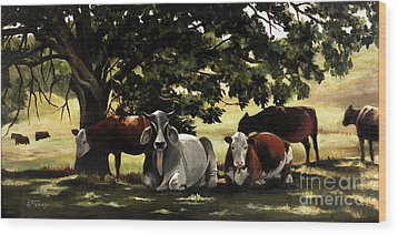 Brahma's Mamas Wood Print by Suzanne Schaefer
