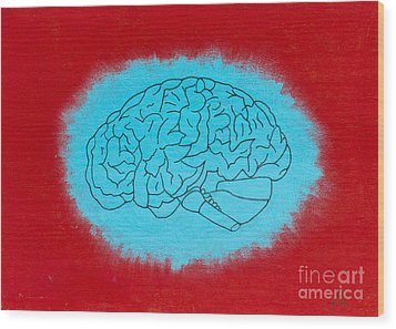 Brain Blue Wood Print