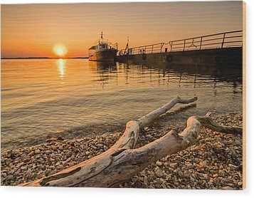 Branch Barge And Sunset Wood Print by Davorin Mance