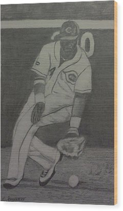 Wood Print featuring the drawing Brandon Phillips by Christy Saunders Church