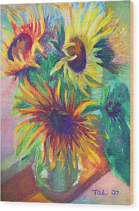Brandy's Sunflowers - Still Life On Windowsill Wood Print by Talya Johnson
