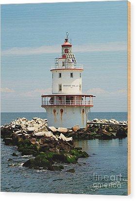 Brandywine Shoal  Lighthouse Wood Print by Nick Zelinsky