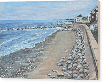 Wood Print featuring the painting Brant Rock At High Tide by Rita Brown