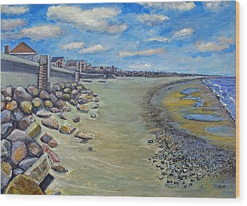 Wood Print featuring the painting Brant Rock Beach by Rita Brown