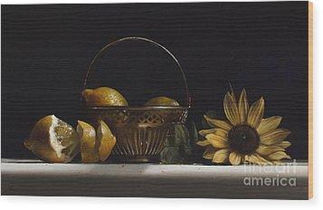 Brass Basket No.2 Wood Print by Larry Preston