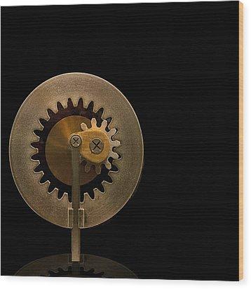 Brass Gears Wood Print