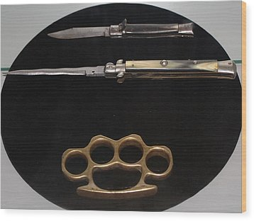 Brass Knuckles And Knives Wood Print by Steven Parker