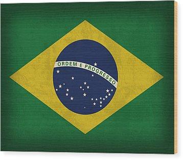 Brazil Flag Vintage Distressed Finish Wood Print by Design Turnpike