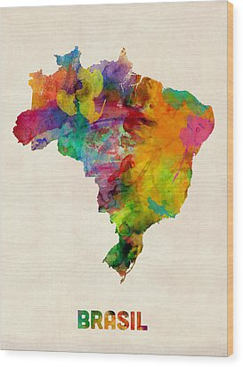 Brazil Watercolor Map Wood Print by Michael Tompsett