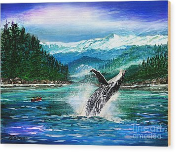 Breaching Humpback Whale Wood Print