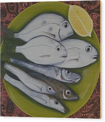 Wood Print featuring the painting Bread And Butter Plate by Helen Syron
