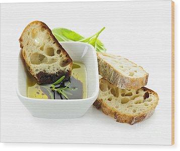 Bread Olive Oil And Vinegar Wood Print by Elena Elisseeva