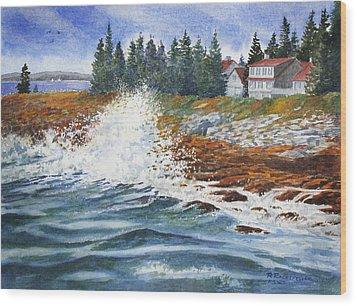 Wood Print featuring the painting Breakers At Pemaquid by Roger Rockefeller