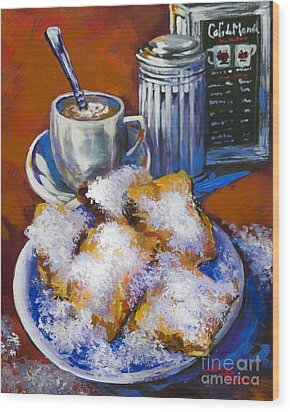 Wood Print featuring the painting Breakfast At Cafe Du Monde by Dianne Parks