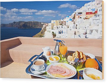 Breakfast At Terrace Wood Print by Aiolos Greek Collections