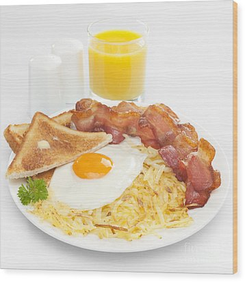 Breakfast Hash Browns Bacon Fried Egg Toast Orange Juice Wood Print