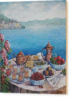 Breakfast In Istanbul Wood Print by Lou Ann Bagnall