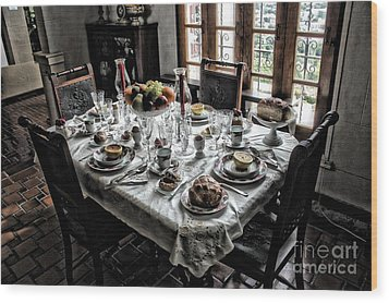 Downton Abbey Breakfast Wood Print by The Art of Alice Terrill