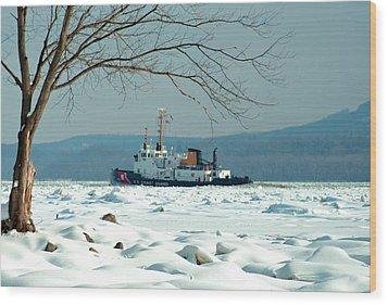 Breaking Ice Wood Print by Nancy De Flon