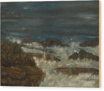 Breaking Waves Wood Print by Nicla Rossini